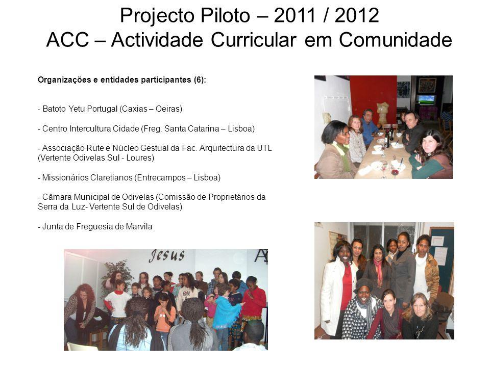 Organizações e entidades participantes (6): - Batoto Yetu Portugal (Caxias – Oeiras) - Centro Intercultura Cidade (Freg. Santa Catarina – Lisboa) - As