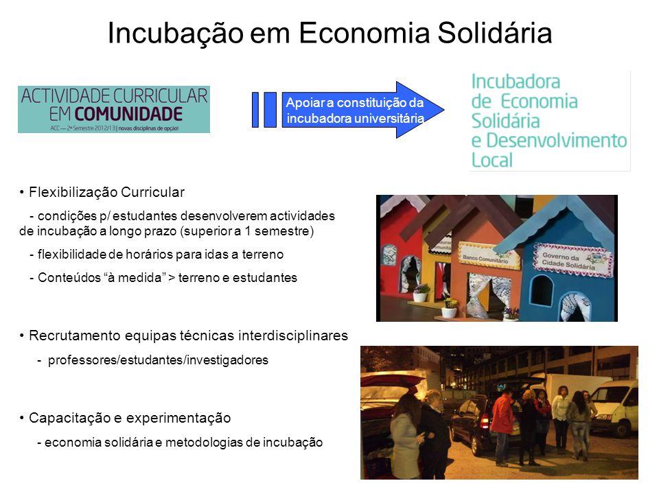 Incubação em Economia Solidária Apoiar a constituição da incubadora universitária Flexibilização Curricular - condições p/ estudantes desenvolverem ac