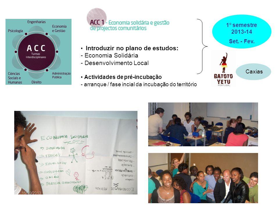 Introduzir no plano de estudos: - Economia Solidária - Desenvolvimento Local Actividades de pré-incubação - arranque / fase incial da incubação do ter