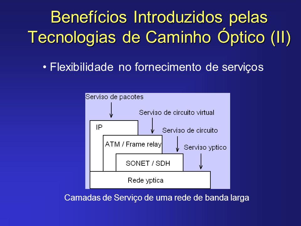 Benefícios Introduzidos pelas Tecnologias de Caminho Óptico (II) Flexibilidade no fornecimento de serviços Camadas de Serviço de uma rede de banda lar