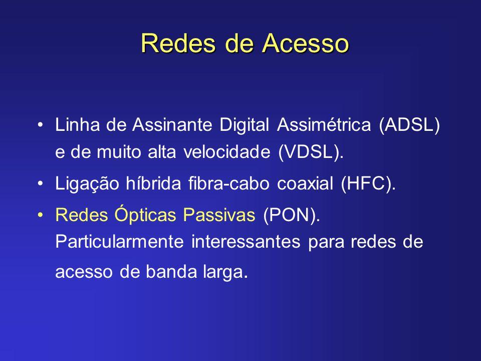 Redes de Acesso Linha de Assinante Digital Assimétrica (ADSL) e de muito alta velocidade (VDSL). Ligação híbrida fibra-cabo coaxial (HFC). Redes Óptic