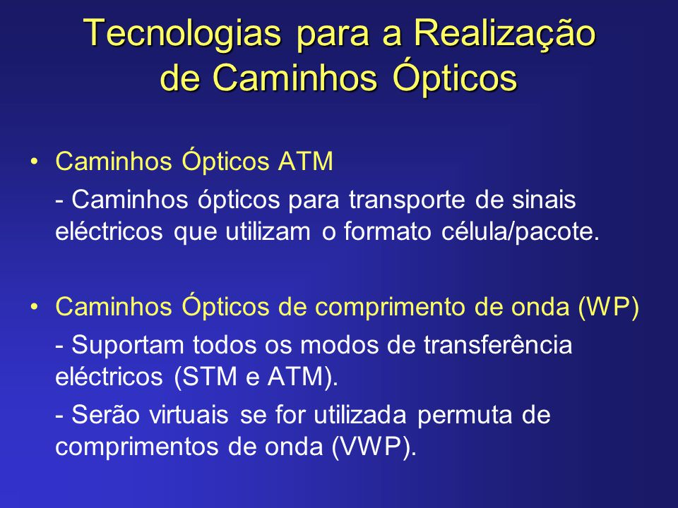 Tecnologias para a Realização de Caminhos Ópticos Caminhos Ópticos ATM - Caminhos ópticos para transporte de sinais eléctricos que utilizam o formato