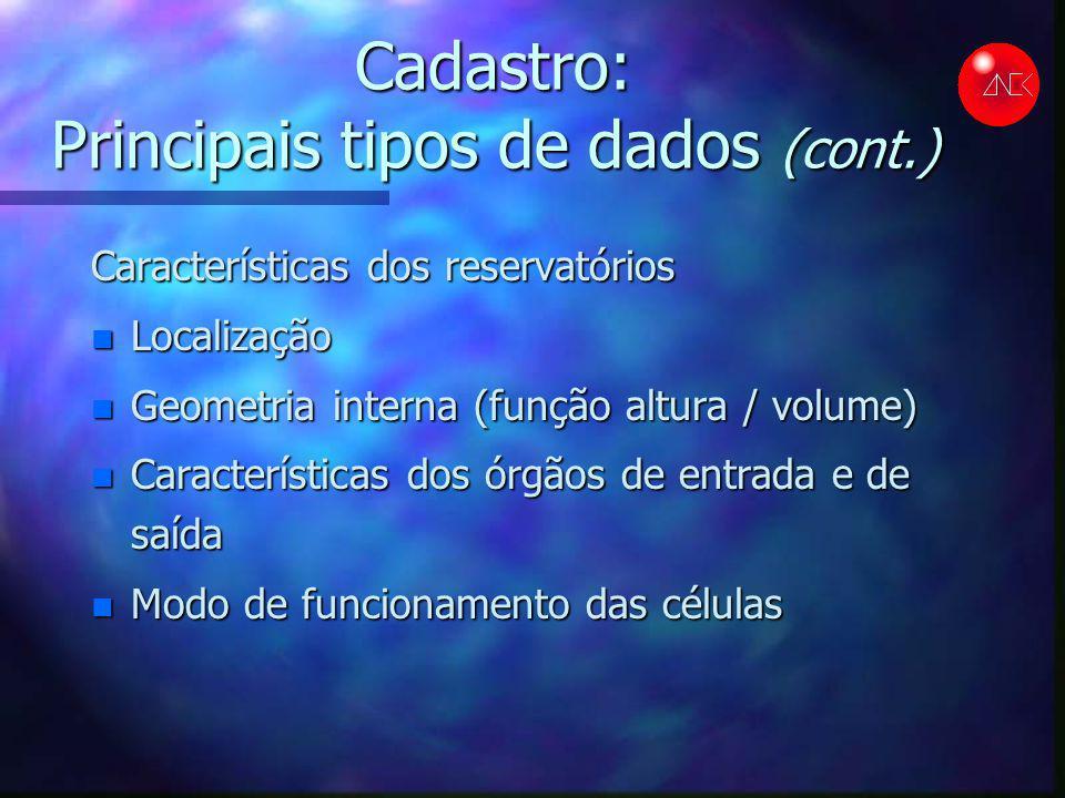 Cadastro: Principais tipos de dados (cont.) Características dos reservatórios n Localização n Geometria interna (função altura / volume) n Característ