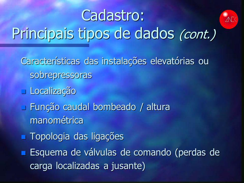 Cadastro: Principais tipos de dados (cont.) Características das instalações elevatórias ou sobrepressoras n Localização n Função caudal bombeado / alt