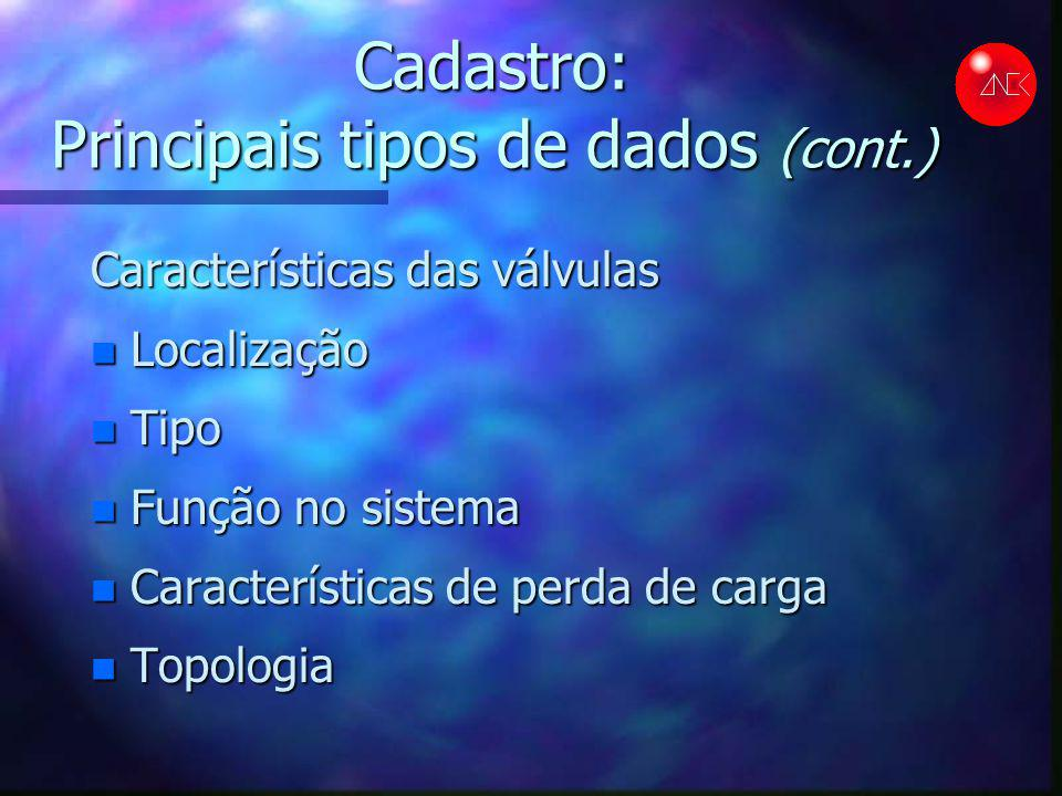 Cadastro: Principais tipos de dados (cont.) Características das válvulas n Localização n Tipo n Função no sistema n Características de perda de carga n Topologia