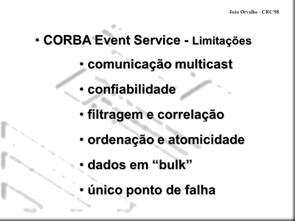 João Orvalho - CRC'98 CORBA Event Service - Limitações CORBA Event Service - Limitações comunicação multicast comunicação multicast confiabilidade con