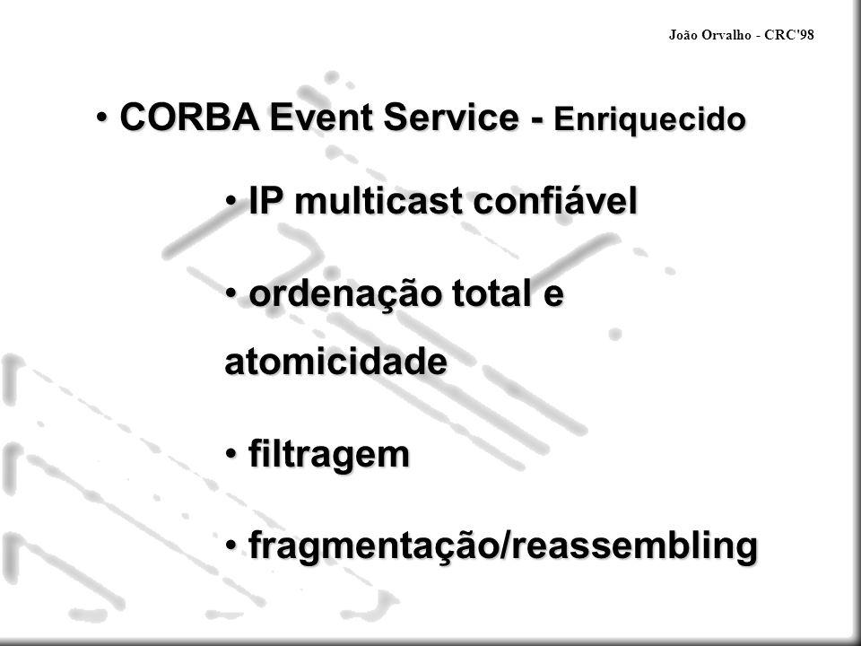 João Orvalho - CRC'98 CORBA Event Service - Enriquecido CORBA Event Service - Enriquecido IP multicast confiável IP multicast confiável ordenação tota