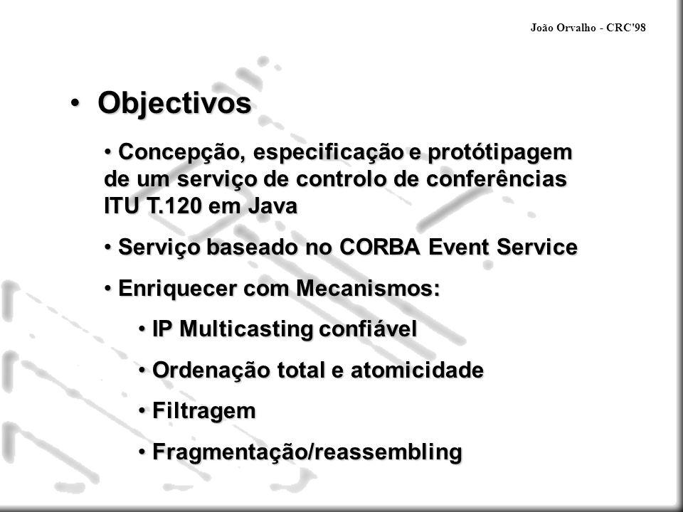 João Orvalho - CRC'98 Objectivos Objectivos Concepção, especificação e protótipagem de um serviço de controlo de conferências ITU T.120 em Java Concep