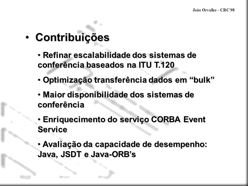 João Orvalho - CRC 98 Estado do Conhecimento Estado do Conhecimento CSCW CSCW - computer support for collaborative work Controle da conferência: fortemente acoplada/formal fracamente acoplada/informal Instituições de normalização: ITU - T.120, H.323 IETF - SCCP, Mbone Proprietários - HORUS