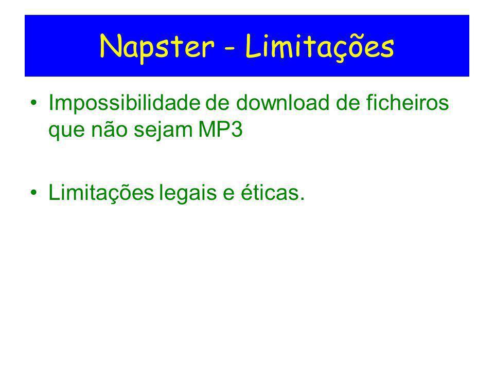 Napster - Limitações Impossibilidade de download de ficheiros que não sejam MP3 Limitações legais e éticas.