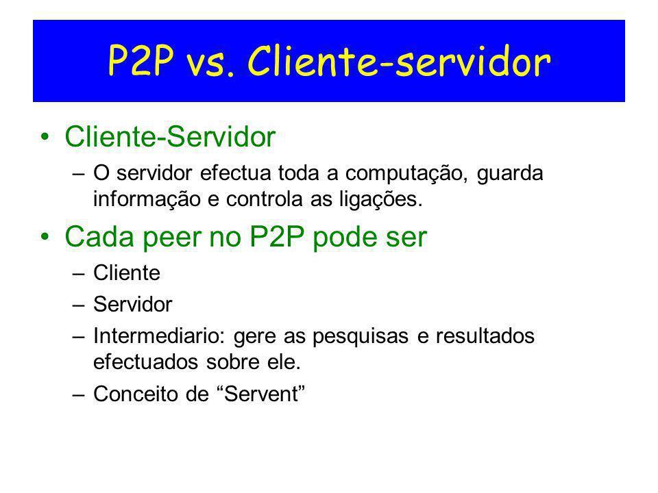 P2P vs. Cliente-servidor Cliente-Servidor –O servidor efectua toda a computação, guarda informação e controla as ligações. Cada peer no P2P pode ser –