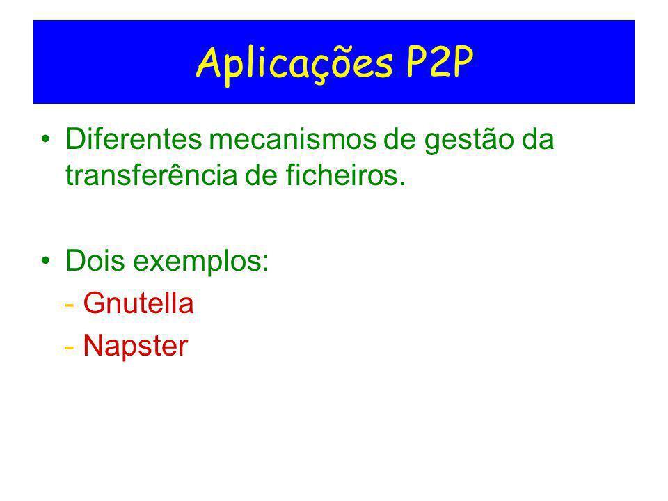 Aplicações P2P Diferentes mecanismos de gestão da transferência de ficheiros. Dois exemplos: - Gnutella - Napster
