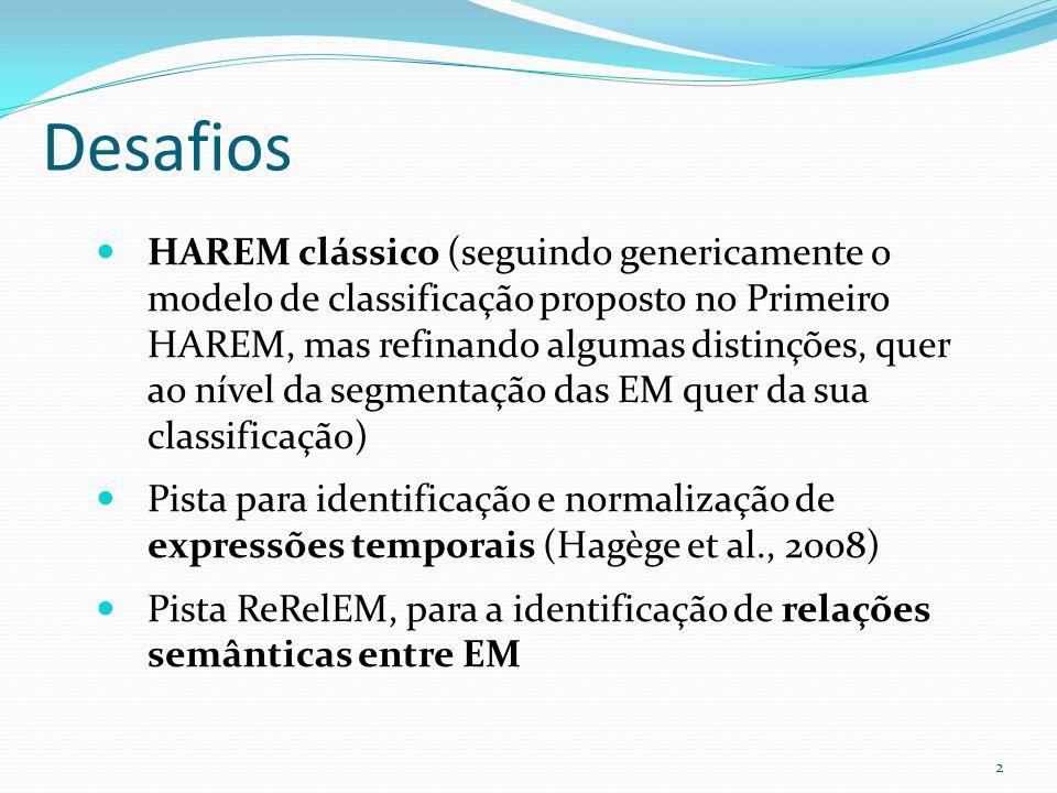 Desafios HAREM clássico (seguindo genericamente o modelo de classificação proposto no Primeiro HAREM, mas refinando algumas distinções, quer ao nível da segmentação das EM quer da sua classificação) Pista para identificação e normalização de expressões temporais (Hagège et al., 2008) Pista ReRelEM, para a identificação de relações semânticas entre EM 2