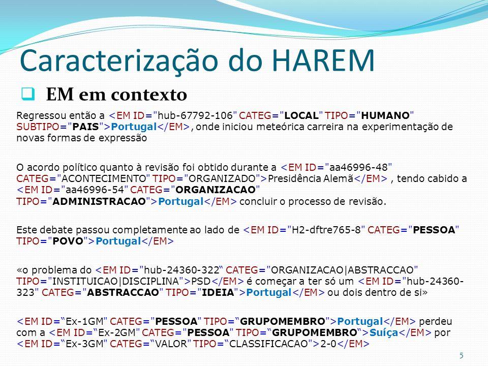 Caracterização do HAREM EM em contexto 5 O acordo político quanto à revisão foi obtido durante a Presidência Alemã, tendo cabido a Portugal concluir o processo de revisão.