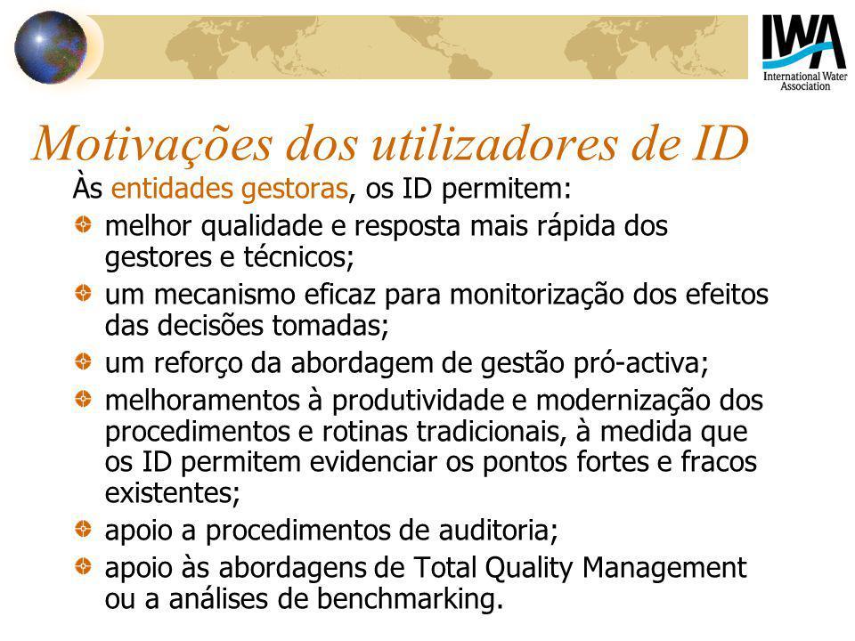 Motivações dos utilizadores de ID Às entidades gestoras, os ID permitem: melhor qualidade e resposta mais rápida dos gestores e técnicos; um mecanismo