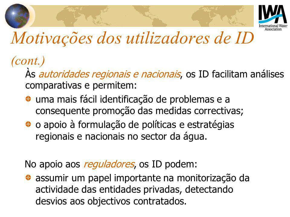 Motivações dos utilizadores de ID (cont.) uma mais fácil identificação de problemas e a consequente promoção das medidas correctivas; o apoio à formulação de políticas e estratégias regionais e nacionais no sector da água.