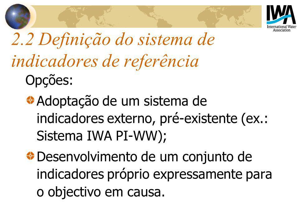 2.2 Definição do sistema de indicadores de referência Opções: Adoptação de um sistema de indicadores externo, pré-existente (ex.: Sistema IWA PI-WW); Desenvolvimento de um conjunto de indicadores próprio expressamente para o objectivo em causa.