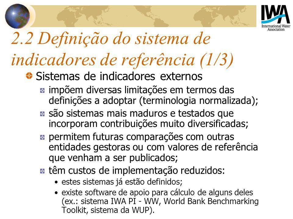 2.2 Definição do sistema de indicadores de referência (1/3) Sistemas de indicadores externos impõem diversas limitações em termos das definições a ado