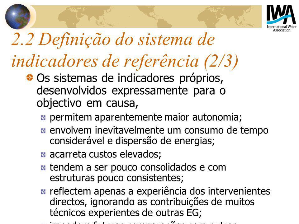 2.2 Definição do sistema de indicadores de referência (2/3) Os sistemas de indicadores próprios, desenvolvidos expressamente para o objectivo em causa