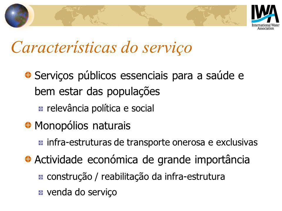 Características do serviço Serviços públicos essenciais para a saúde e bem estar das populações relevância política e social Monopólios naturais infra