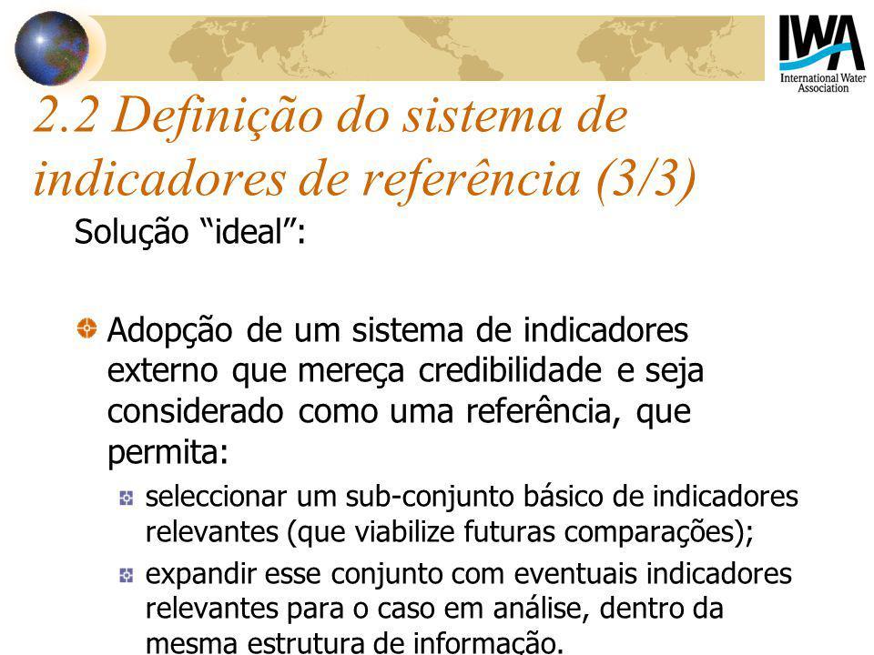 2.2 Definição do sistema de indicadores de referência (3/3) Solução ideal: Adopção de um sistema de indicadores externo que mereça credibilidade e sej