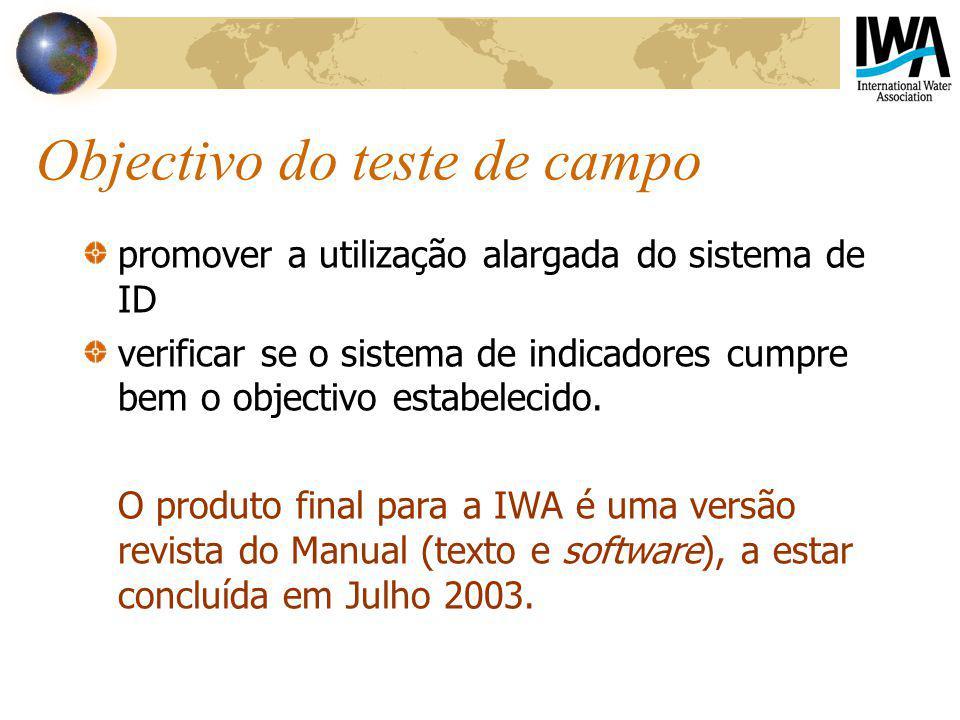 Objectivo do teste de campo promover a utilização alargada do sistema de ID verificar se o sistema de indicadores cumpre bem o objectivo estabelecido.