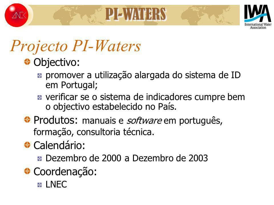 Projecto PI-Waters Objectivo: promover a utilização alargada do sistema de ID em Portugal; verificar se o sistema de indicadores cumpre bem o objectiv