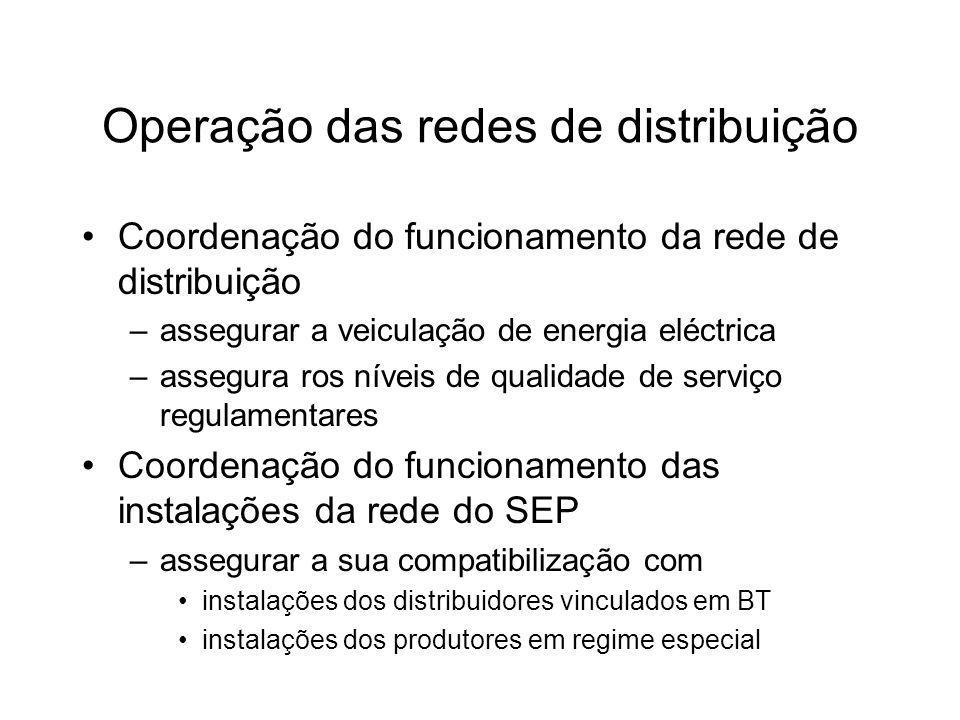 Operação das redes de distribuição Coordenação do funcionamento da rede de distribuição –assegurar a veiculação de energia eléctrica –assegura ros nív