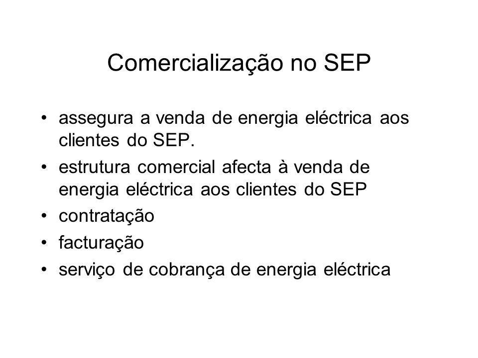 Comercialização no SEP assegura a venda de energia eléctrica aos clientes do SEP. estrutura comercial afecta à venda de energia eléctrica aos clientes