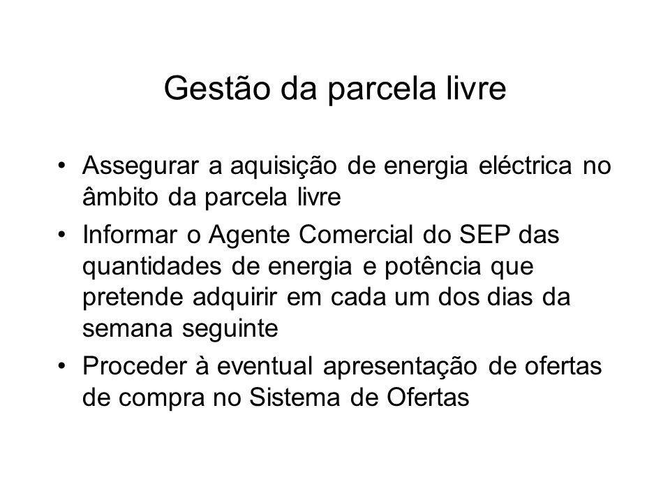 Gestão da parcela livre Assegurar a aquisição de energia eléctrica no âmbito da parcela livre Informar o Agente Comercial do SEP das quantidades de en