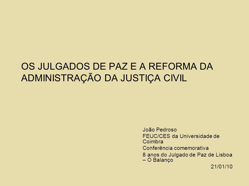 OS JULGADOS DE PAZ E A REFORMA DA ADMINISTRAÇÃO DA JUSTIÇA CIVIL João Pedroso FEUC/CES da Universidade de Coimbra Conferência comemorativa 8 anos do J