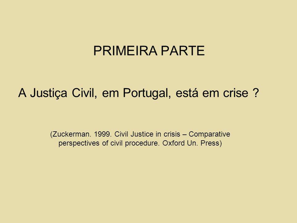 PRIMEIRA PARTE A Justiça Civil, em Portugal, está em crise ? (Zuckerman. 1999. Civil Justice in crisis – Comparative perspectives of civil procedure.