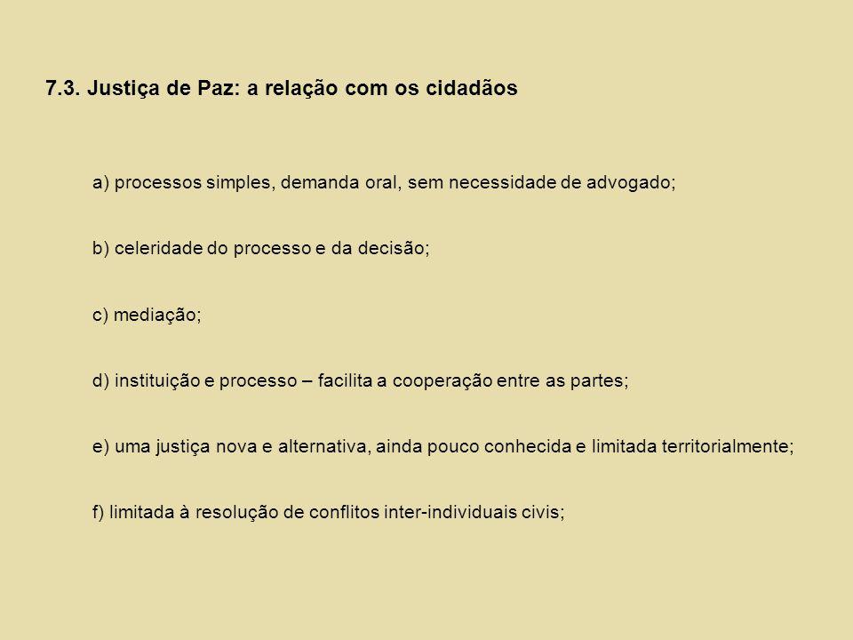 7.3. Justiça de Paz: a relação com os cidadãos a) processos simples, demanda oral, sem necessidade de advogado; b) celeridade do processo e da decisão