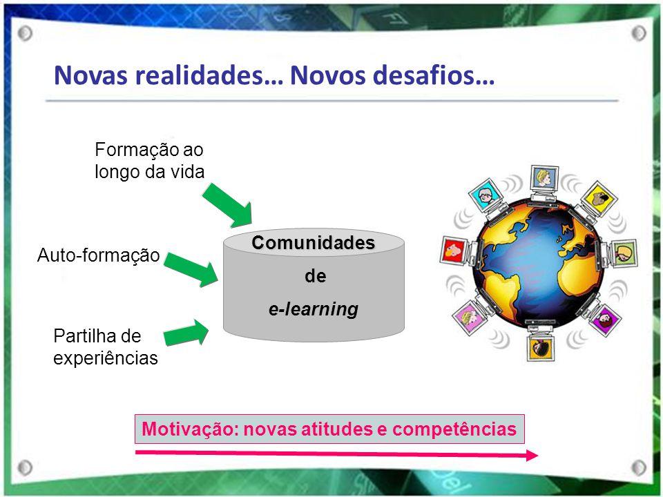 Novas realidades… Novos desafios… Formação ao longo da vida Partilha de experiências Auto-formação Motivação: novas atitudes e competências Comunidade