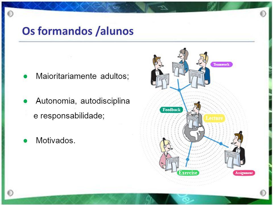 Os formandos /alunos Maioritariamente adultos; Autonomia, autodisciplina e responsabilidade; Motivados.