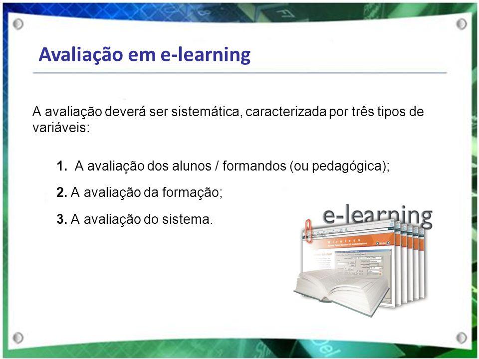 A avaliação deverá ser sistemática, caracterizada por três tipos de variáveis: 1. A avaliação dos alunos / formandos (ou pedagógica); 2. A avaliação d