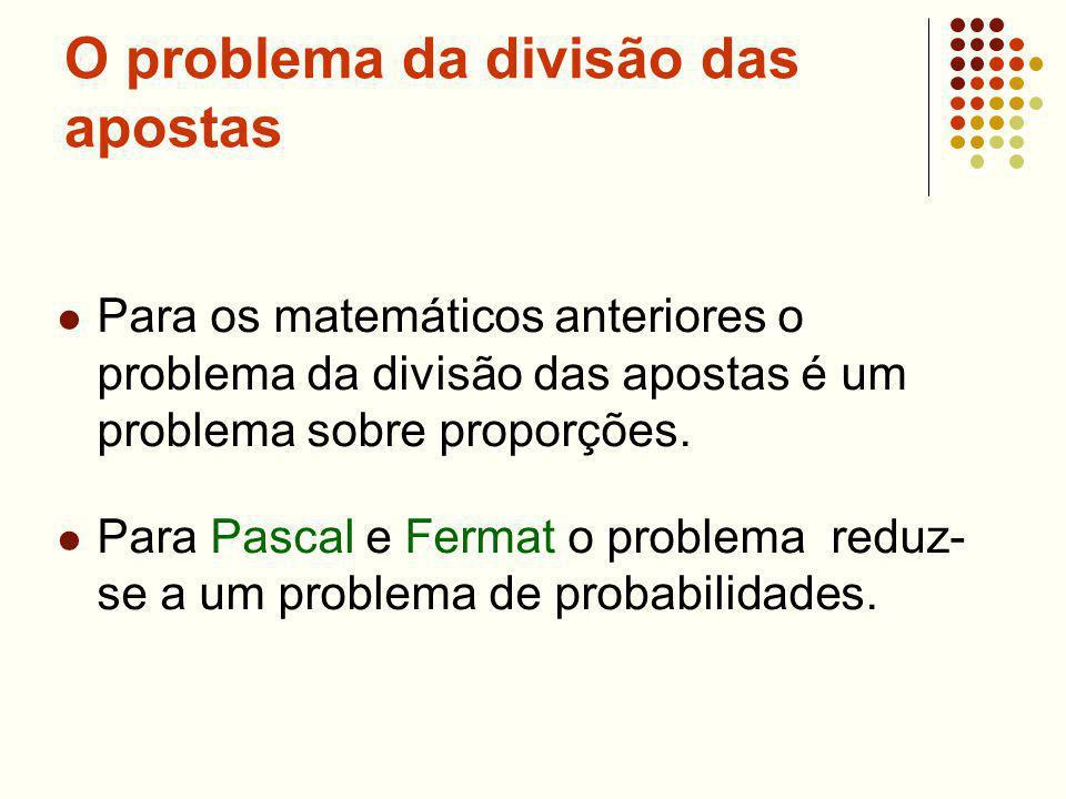 O problema da divisão das apostas Para os matemáticos anteriores o problema da divisão das apostas é um problema sobre proporções. Para Pascal e Ferma