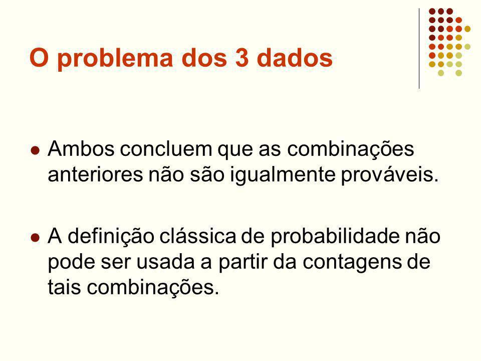 O problema dos 3 dados Ambos concluem que as combinações anteriores não são igualmente prováveis. A definição clássica de probabilidade não pode ser u