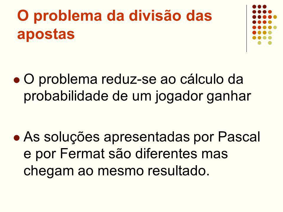 O problema da divisão das apostas O problema reduz-se ao cálculo da probabilidade de um jogador ganhar As soluções apresentadas por Pascal e por Fermat são diferentes mas chegam ao mesmo resultado.