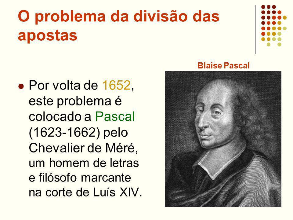 O problema da divisão das apostas Por volta de 1652, este problema é colocado a Pascal (1623-1662) pelo Chevalier de Méré, um homem de letras e filósofo marcante na corte de Luís XIV.