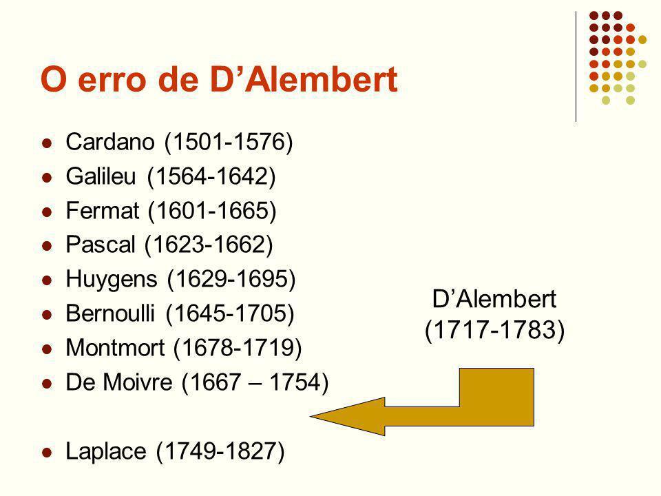 O erro de DAlembert Cardano (1501-1576) Galileu (1564-1642) Fermat (1601-1665) Pascal (1623-1662) Huygens (1629-1695) Bernoulli (1645-1705) Montmort (1678-1719) De Moivre (1667 – 1754) Laplace (1749-1827) DAlembert (1717-1783)