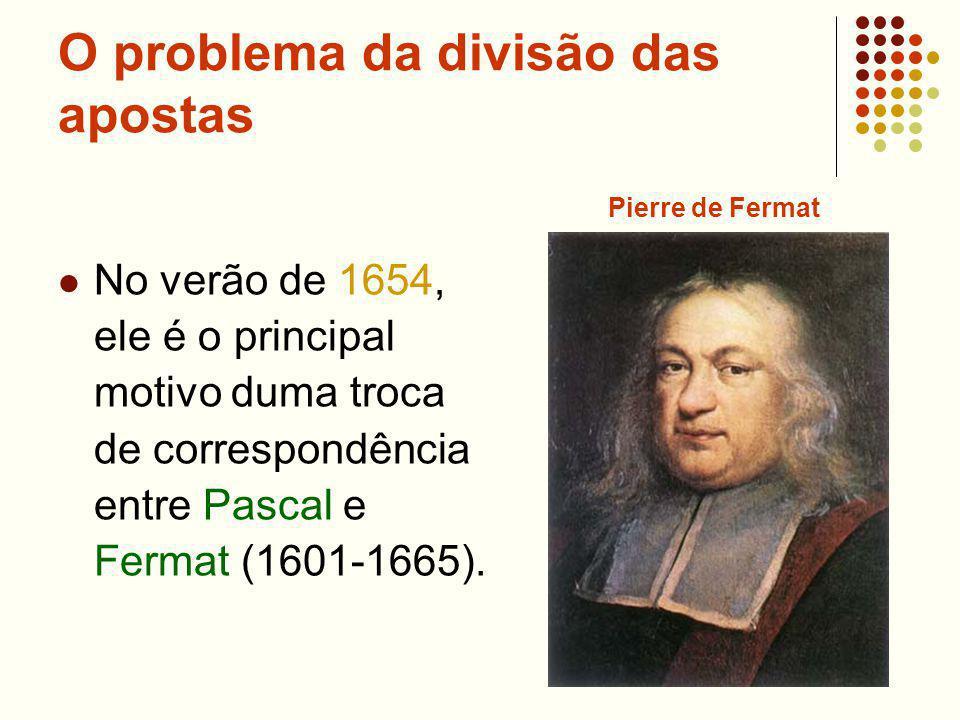 O problema da divisão das apostas No verão de 1654, ele é o principal motivo duma troca de correspondência entre Pascal e Fermat (1601-1665).