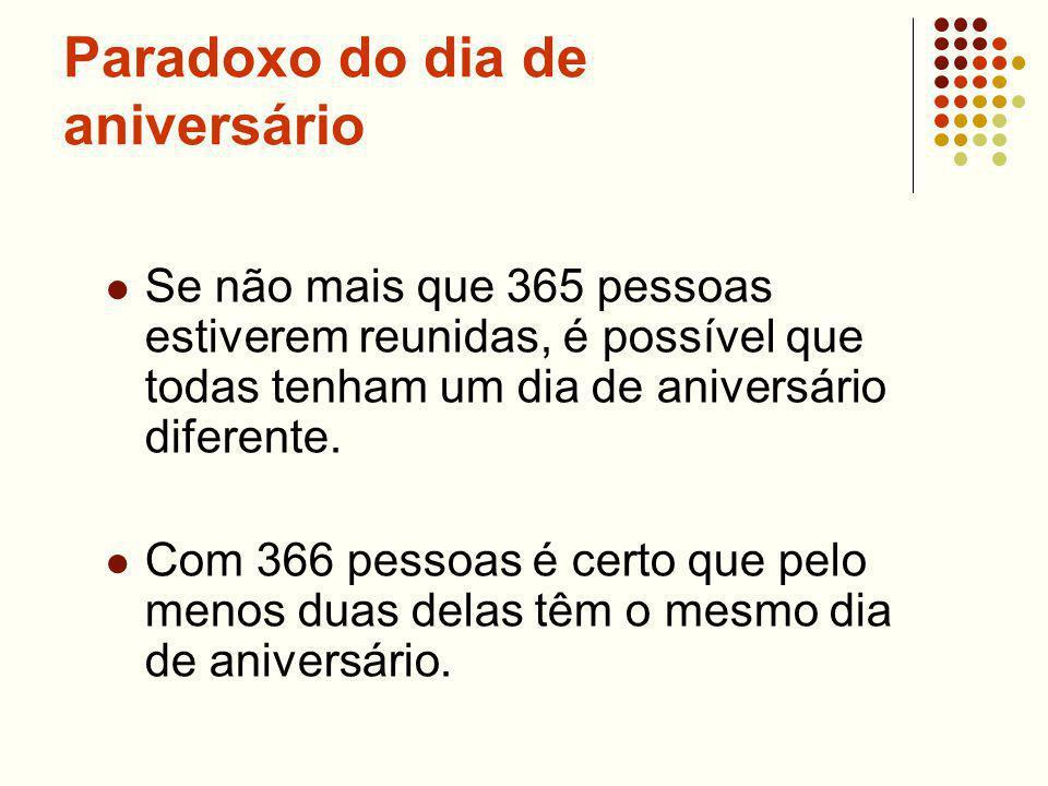 Paradoxo do dia de aniversário Se não mais que 365 pessoas estiverem reunidas, é possível que todas tenham um dia de aniversário diferente. Com 366 pe