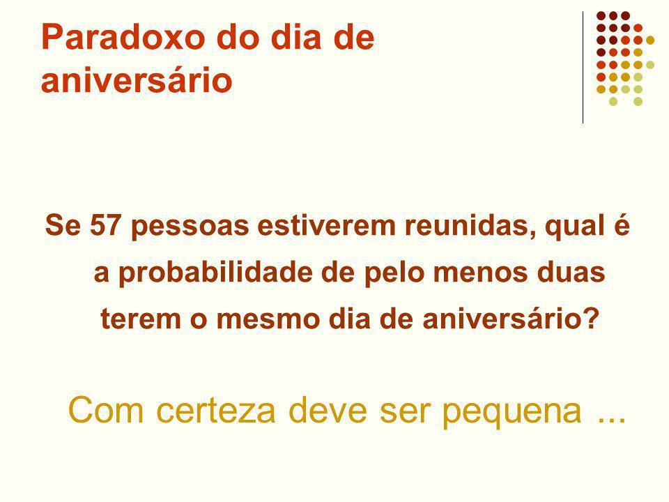 Paradoxo do dia de aniversário Se 57 pessoas estiverem reunidas, qual é a probabilidade de pelo menos duas terem o mesmo dia de aniversário.