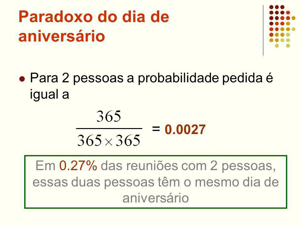 Paradoxo do dia de aniversário Para 2 pessoas a probabilidade pedida é igual a = 0.0027 Em 0.27% das reuniões com 2 pessoas, essas duas pessoas têm o mesmo dia de aniversário