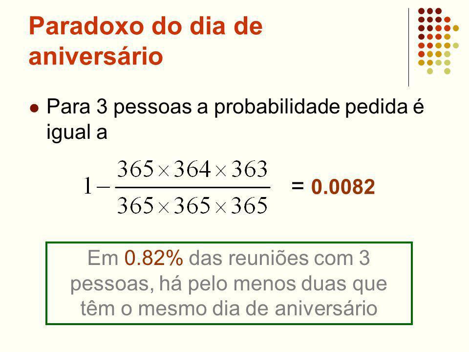 Paradoxo do dia de aniversário Para 3 pessoas a probabilidade pedida é igual a = 0.0082 Em 0.82% das reuniões com 3 pessoas, há pelo menos duas que têm o mesmo dia de aniversário