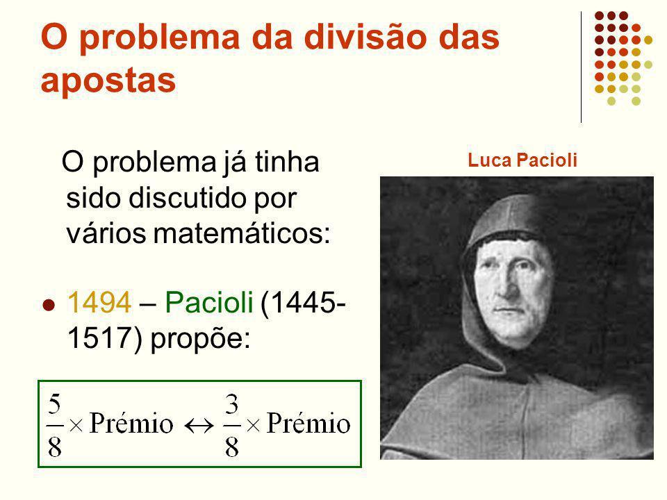 O problema da divisão das apostas O problema já tinha sido discutido por vários matemáticos: 1494 – Pacioli (1445- 1517) propõe: Luca Pacioli