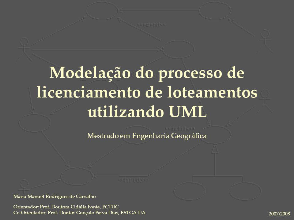 21 Nov 2007Modelação do processo de licenciamento de loteamentos utilizando UML2 Objectivo Motivação Análise Bibliográfica Bibliografia