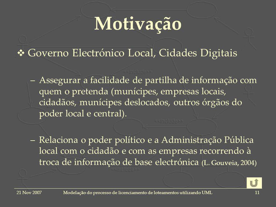 21 Nov 2007Modelação do processo de licenciamento de loteamentos utilizando UML11 Motivação Governo Electrónico Local, Cidades Digitais –Assegurar a f