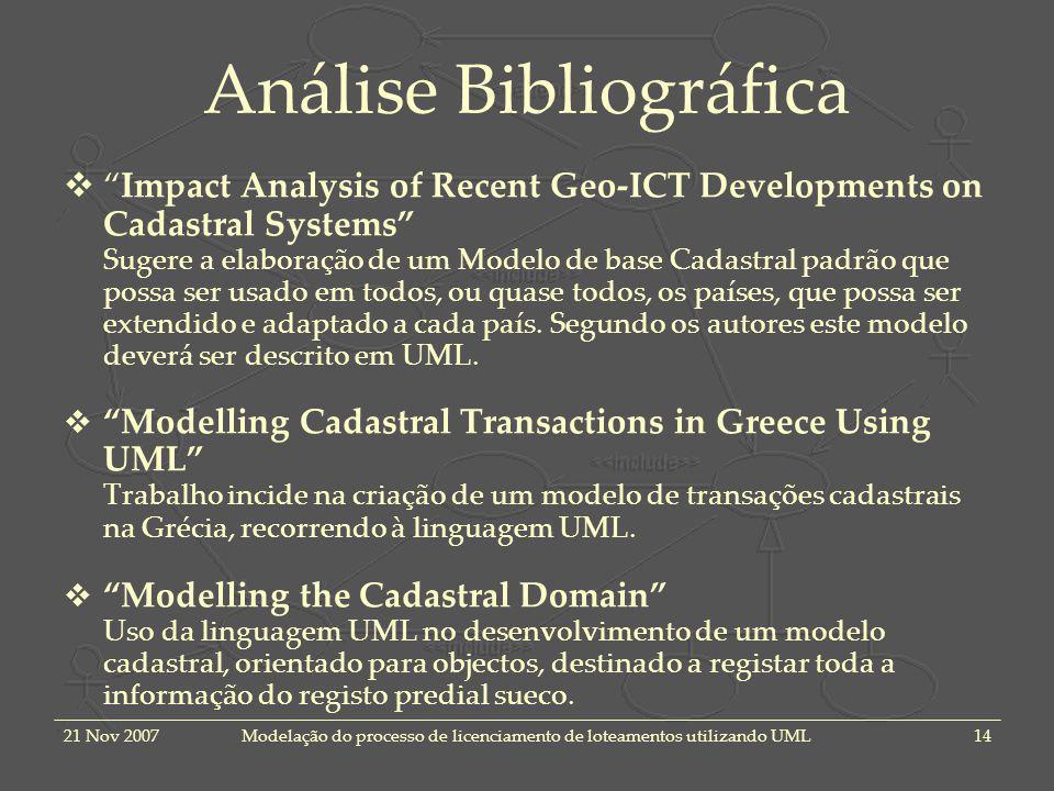 21 Nov 2007Modelação do processo de licenciamento de loteamentos utilizando UML14 Análise Bibliográfica Impact Analysis of Recent Geo-ICT Developments
